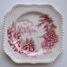 Pink Red Toile TRANSFERWARE Square Plate Castle on Lake Foxgloves Rose