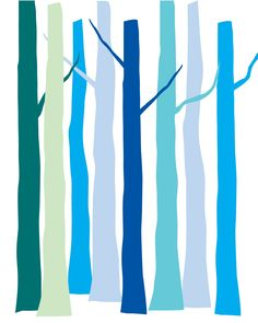 Winter Trees in Shades of Blue 8x10 Art Print by NoelleOReilly aqua turquoise teal blue