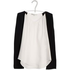 SANDRO Top bicolore Blanc ($220) ❤ liked on Polyvore