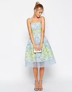 ASOS SALON Premium Placed Lace and Applique Prom Dress With Organza Hem