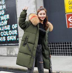 Women Thick Faux Fur Trim Warm Cotton Jacket Black Brick, Fabric Names, Types Of Collars, Down Coat, Cotton Jacket, Fur Collars, Fur Trim, Wool Blend, Cotton Fabric