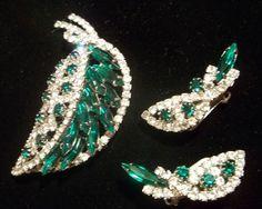 Vintage Hobe Rhinestone Leaf Brooch & Earring Set JULIANA AMAZING SPARKLE #Hobe