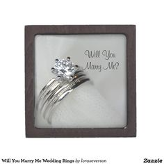 Will You Marry Me Wedding Rings Jewelry Box Propose to your girlfriend and ask her to marry you with the pretty Will You Marry Me Wedding Rings Box. This beautiful engagement ring gift box features a close photograph of a diamond engagement ring and wedding band set. #proposal #engagementring
