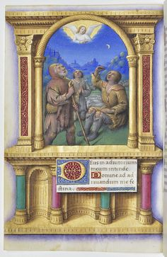 'Deus, in adjutorium meum intende; Domine, ad adjuvandum me festina.' (Graciously rescue me, God! Come quickly to help me, LORD!) Psalm 70:2 // Annunciation to the Shepherds / Book of Hours // ca. 1515-1520 // Jean Bourdichon // Isabella Stewart Gardner Museum // #Christmas #Navidad
