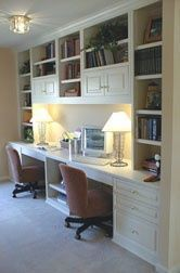 Find the best idea to make a home office for two. Sharing a home office sounds l. - Home Office Pin Home Office Space, Home Office Desks, Home Office Furniture, Office Decor, Office Ideas, Office Designs, Desk Ideas, Room Ideas, Office Built Ins