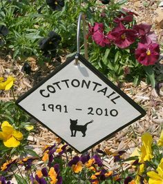 Ceramic Pet Memorial Sign For Dogs and Cats, hangs on included yard stake. Give us the pets name and year in the gift message section for faster service. Dog memorial and cat memorial. *** Startling review available here  : Dog Memorials