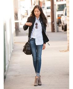 how to wear ankle boots. I like the cuffed jeans!