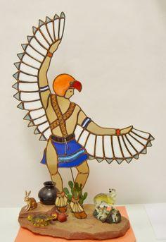 Eagle Dancer Kachina on Base with Animals