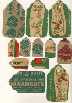 gift tags from recycled ornament boxes.  Beth Leintz has a free download so you don't have to cut up your own.