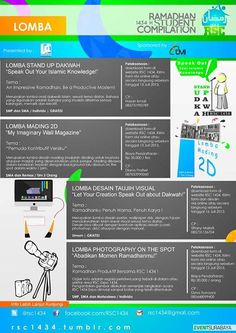LOMBA – LOMBA RSC (Ramadhan Student Compilation) Expo 1434 20 – 21 Juli 2013 At Craft Center, Royal Plaza  http://eventsurabaya.net/lomba-lomba-rsc-ramadhan-student-compilation-expo-1434/