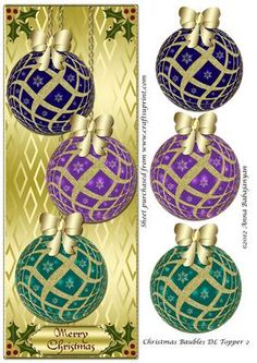 - Lovely DL topper for Christmas Cards which I have designed with three Christmas baubles and Holly decorations on patterned go. Christmas Sheets, Christmas Picks, Christmas Labels, 3d Christmas, Christmas Cards To Make, Christmas Tree Toppers, Christmas Images, Christmas Printables, Xmas Cards