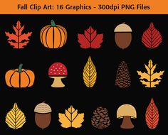 Fall Clip Art  #autumn #fall #harvest #thanksgiving #clipart #leaves #acorns #pumpkins #fallimages