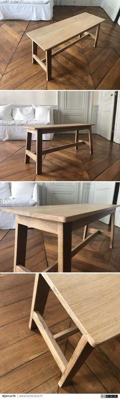 Suite à la demande d'un membre de ma famille, j'ai réalisé ce petit banc de 90cm de long, en chêne, tout les assemblages en tenon mortaise. Que du bonheur et quelques difficultés pour ce meuble, qui est...  #table