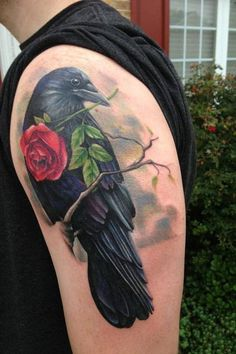 Realistic Raven and Rose Tattoo - 60+ Mysterious Raven Tattoos