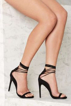 Nasty Gal Easily Suede Lace-Up Heel - Black - Designed By Us
