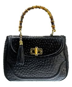 Loving this Black Embossed Leather Satchel on #zulily! #zulilyfinds