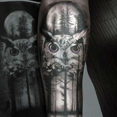 Moon With Owl And Pine Trees Mens Nature Forearm Sleeve Tattoo