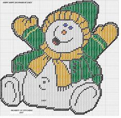 HAPPY HAPPY SNOWMAN by DAISY*STITCHEMS -- WALL HANGING 2/2