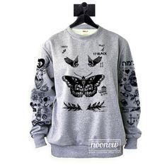 Larry Stylinson tatuaje sudadera Sweater Jumper suéter gris
