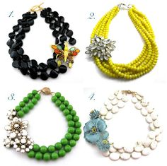 inspiration for new necklaces to create using my old necklaces, bead findings and brooches