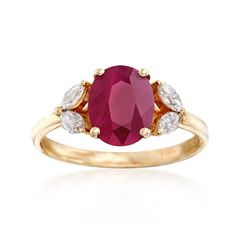 Ross-Simons - Carat Burmese Ruby and ct. Diamond Ring in Yellow Gold - Ruby Jewelry, Diamond Jewelry, Gemstone Jewelry, Gold Jewelry, Vintage Jewelry, Fine Jewelry, Jewellery, Vintage Rings, Ruby Engagement Ring Vintage