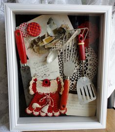 "Vintage Collection: "" red handled kitchen utensils, hand crocheted doilies and decorative pot holder with handwritten recipes"