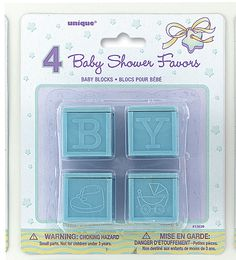 Blue Baby Blocks Baby Shower Decorations - Pack of 4