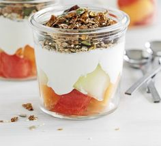 Melon & Crunchy Bran Pots... Trying this breakfast pot out this week as I need a change from regular cereal.  I'm not going to use fruit and fibre cereal but granola instead.  #breakfast #healthy #food