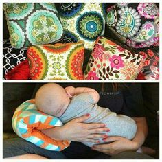 BREASTFEEDING ARM PILLOWS...this is such a great idea & looks so much better than the bulky boppy pillows!  Find it here (aff).... http://rstyle.me/n/bm3yynb5zc7