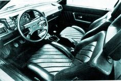 Audi Quattro, press shot of the optional pleated leather interior, unique to the early cars