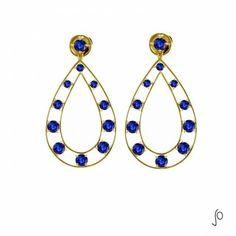 Boa noite :) Brinco Azul profundo, peça em ouro amarelo e safira azul. Deslumbrante e cheio de luxo! #JoanaMadia #Jewels #OuroeSafira #Azul