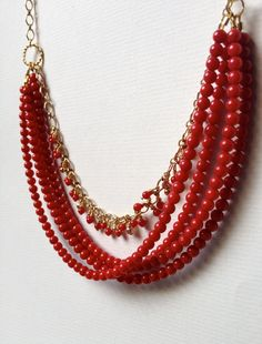 """Reveur Statement Necklace    Red Coral Beaded Necklace with Gold Chain Accent - Inspired by """"The Night Circus"""". $54.00, via Etsy."""