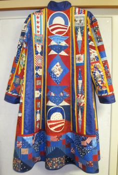 Rachel Clark's Obama Coat (Back) Patchwork Fabric, Patchwork Designs, Fabric Art, Fabric Scraps, Quilting Designs, Fabric Patterns, Clothing Patterns, Rachel Clark, Quilted Clothes