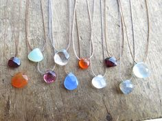 Three minimalist necklaces with a small faceted gemstone briolette of your choice. Pick up 3 choker  with a briolette on a thin silk thread