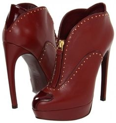 Alexander McQueen Light Oxblood ~ 25 High Fashion Heels on the Street that You Absolutely Must See - Style Estate -