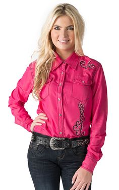 Cowgirl Hardware Women's Pink Denim with Horseshoe and Swirls Long Sleeve Western Shirt