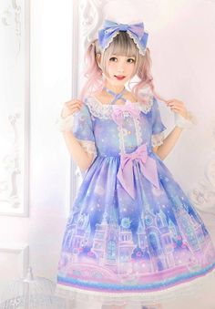 These starry night sweet lolita dresses are so pretty!