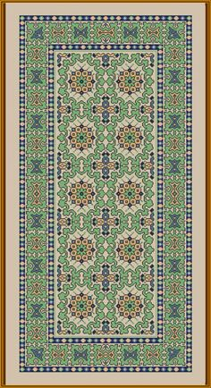 Runner in green Cross Stitch Designs, Cross Stitch Patterns, Big Rugs, Persian Pattern, Cross Stitch Boards, Weaving Patterns, Carpet Design, Rug Hooking, Rugs On Carpet