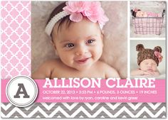 Little girl birth announcement. Love the design. Super cute from tiny prints.