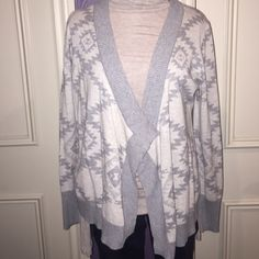 Gray Aztec print sweater Gray and cream open cardigan. Perfect condition and only worn a few times Maurices Sweaters Cardigans