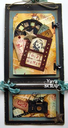 """Home decor """" My movie"""" yaya scrap & more...great use of new Tim Holtz Alterations Sizzix dies"""
