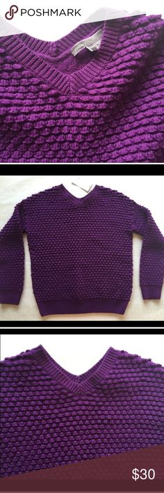 """🆕Vince. ribbed sweater. Junior small size. Trendy Vince. ribbed purple sweater. A scalloped knit brings plenty of textural intrigue to a cozy V-neck sweater softened by a hint of cashmere. Slightly cropped hem.  77% cotton 11% wool 11% nylon  7% cashmere Approx measurements lying flat: • Chest pit to pit at 16 1/2"""" • Length 19 1/2"""" • Shoulder to shoulder 18"""" • Length of sleeve 15 1/2"""" • Armhole 4 1/2"""" • Sleeve width 4"""" Size small. (Girls) or Small Petite. Brand new with tag. Vince Sweaters"""