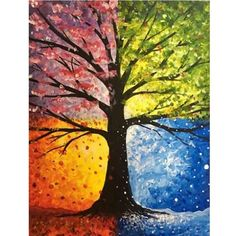 Tree painting seasons art projects 54 ideas for 2019 Easy Canvas Painting, Simple Acrylic Paintings, Abstract Paintings, Painting & Drawing, Canvas Art, Art Paintings, Painting Abstract, Spring Painting, Acrylic Canvas