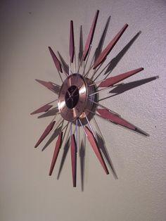 Vintage Starburst Sunburst Atomic Eames Era Wall Clock