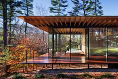 glass and wood house, new canaan