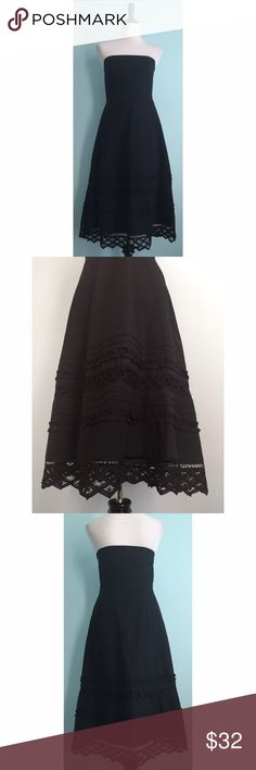 LOFT Black Midi Dress Black fit and flare strapless dress. Midi length. Crocheting and ruffle detailing on bottom of skirt. Very flattering. Like new! In perfect condition. Size 4 by Ann Taylor LOFT. Ann Taylor Dresses Strapless