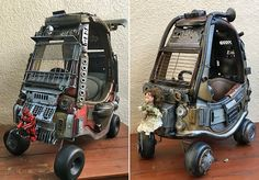 16 pictures of an amazing dad's transformation of two toddler toy cars into post-apocolyptic war cars fit for Mad Max or Furiosa. #fatherhood #kids #movies