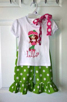 Personalized Strawberry Shortcake Outfit by dainteedesigns on Etsy, $48.00
