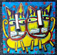 Tracey Ann Finley Original Outsider Raw Brut Folk Painting Two Headed Kitty Cat #OutsiderArt