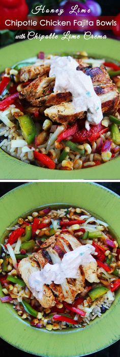 Honey Lime Chipotle Chicken Fajita Bowls with Chipotle Lime Crema | Nosh-up